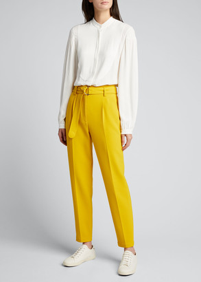 Akris Punto Fred Belted Straight-Leg Cropped Crepe Pants