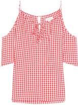 Velvet Nedra gingham cold-shoulder top