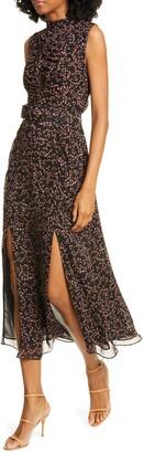 Nicholas Floral Print Silk Midi Dress