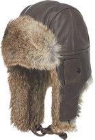 Crown Cap Men's Fur-Trim Aviator Hat-BROWN