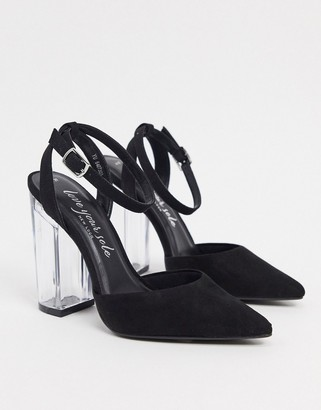 New Look faux suede clear heel shoes in black