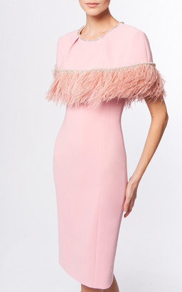 Jenny Packham Melody Feather-Trimmed Crepe Dress