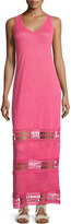 Neiman Marcus Linen Lace-Inset Sleeveless Maxi Dress, Wild Rose