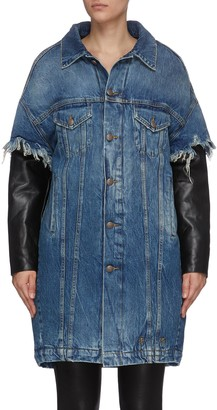 R 13 'Dale' oversized trucker jacket with leather sleeves