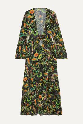 Dodo Bar Or + Annabel's Cutout Printed Stretch-jersey Midi Dress - Black