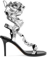 Isabel Marant Ansel Ruffled Metallic Cracked-leather Sandals - Silver