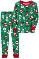 Carter's Toddler Boy Santa & Snowman Top & Bottoms Pajama Set