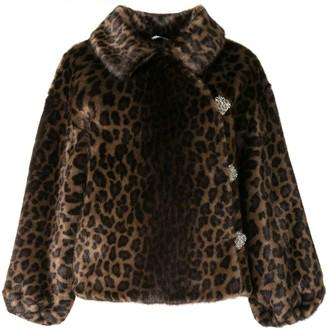 Shrimps Faux Fur Leopard Print Coat