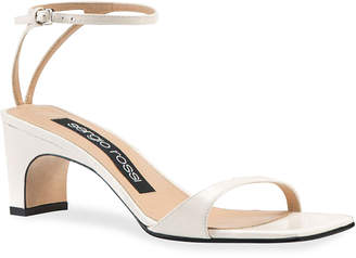 Sergio Rossi SR1 Mid-Heel Leather Sandals