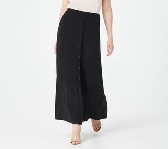 Susan Graver Petite Print or Solid Liquid Knit Maxi Skirt