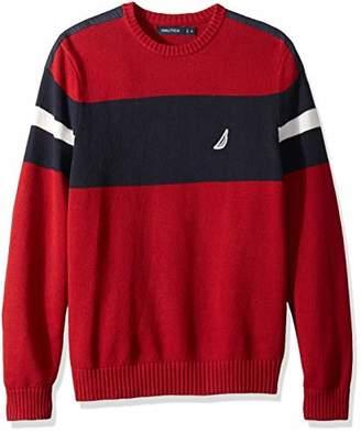 Nautica Men's Long Sleeve Colorblocked Crew Neck Sweater