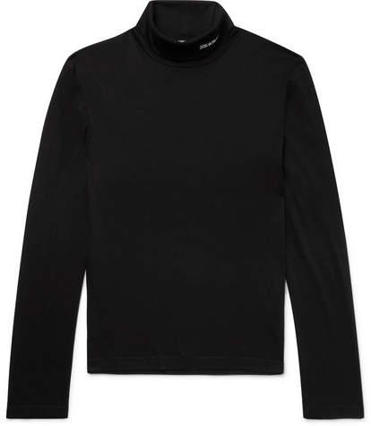Calvin Klein Slim-Fit Embroidered Cotton-Jersey Rollneck T-Shirt