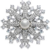Danori Silver-Tone Imitation Pearl and Pavé Crystal Snowflake Pin, Created for Macy's