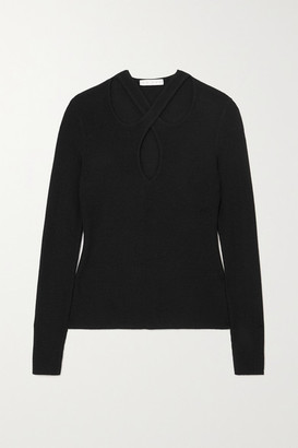 USISI SISTER Kirstie Cutout Ribbed Wool-blend Sweater - Black