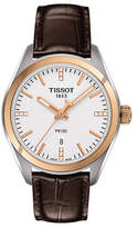 Tissot Stainless Steel PR 100 Watch with Diamonds and Leather Strap