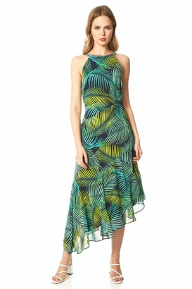 Roman Originals Women Leaf Print Halter Neck Midi Dress - Ladies Spring Summer Sleeveless Round Neck Race Day Special Occasion Wedding Guest Evening Ruffle Frill Dresses - Green - Size 18