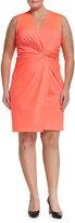 Julie Brown Lucia Twist-Front Dress, Neon Coral