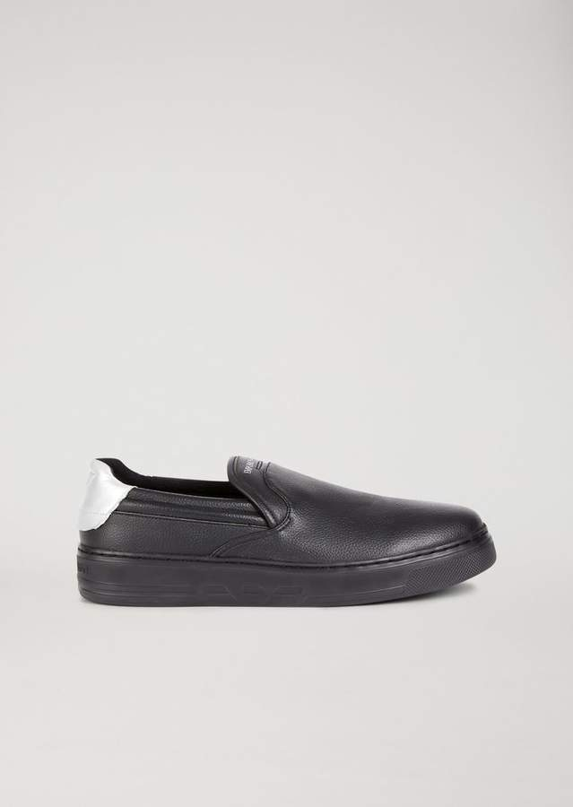 Emporio Armani Hammered Slip-On With Logo Detail On The Heel