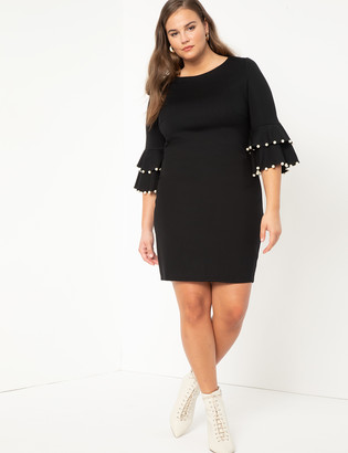 ELOQUII Pearl Detail Dress With Flounce Sleeves
