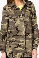 Forever 21 Studded Camo Military Jacket