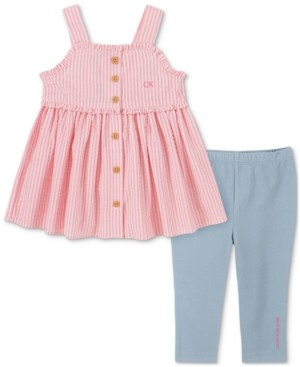 Calvin Klein Baby Girls 2-Piece Seersucker Pinafore Tunic & Capri Leggings Set