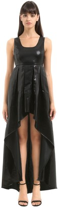 Asymmetric Striped Lame Dress