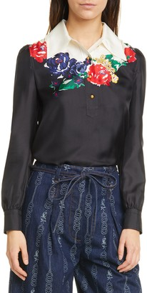Tory Burch Floral Wide Collar Silk Blouse