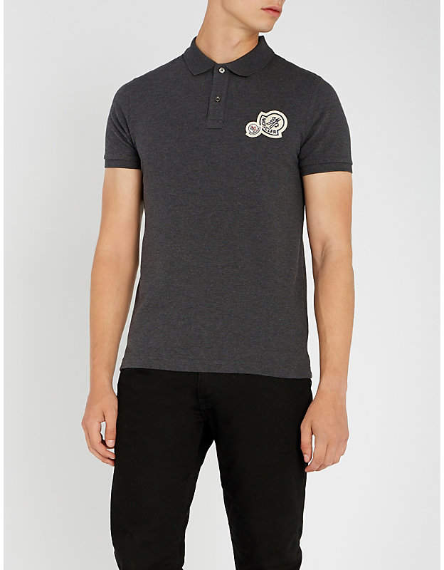Moncler Logo-embroidered cotton polo shirt