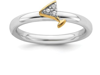Sterling Silver Stackable Expression Yellow Gold-Plated Martini Glass Diamond Ring by Versil