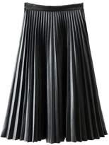 MorySong Women Retro High Waist Basic PU Leather Pleated A Line Midi Skirt L