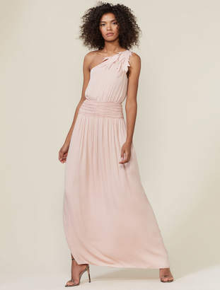 Halston One Shoulder Ruched Waist Gown With Applique