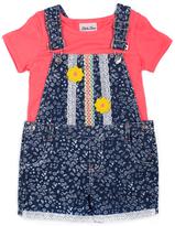 Little Lass Coral Top & Floral Shortalls - Toddler & Girls