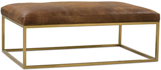 One Kings Lane Percy Cocktail Ottoman - Caramel Leather - frame, brass; upholstery, brown