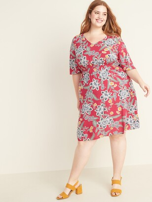 Old Navy Waist-Defined Plus-Size Flutter-Sleeve Dress