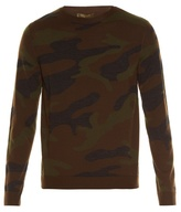 Valentino Crew-neck Camouflage-knit Wool Sweater