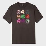 Paul Smith Men's Charcoal Grey Multi-Logo Print Supima-Cotton T-Shirt