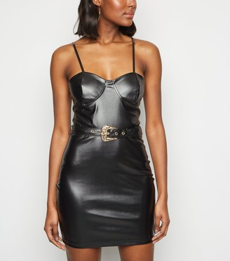 New Look Parisian Leather-Look Belted Bodycon Dress