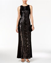 Adrianna Papell Petite Geo-Sequined Gown