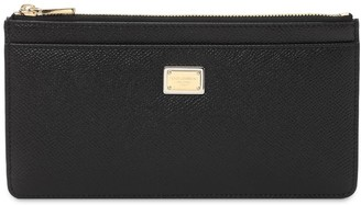 Dolce & Gabbana Dauphine Leather Zip Card Holder W/ Logo