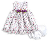 Laura Ashley Baby Girls Baby Girls Floral Accented Dress and Bloomers Set