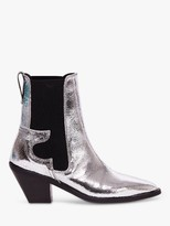 AllSaints Sara Leather Cuban Heel Ankle Boots, Silver