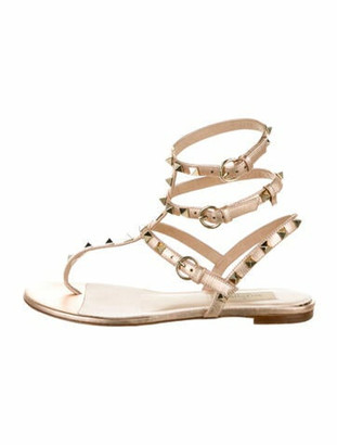 Valentino Leather Studded Accents Gladiator Sandals Pink