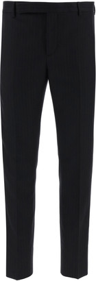 Saint Laurent PINSTRIPED TAILORED TROUSERS 48 Black, Grey Wool