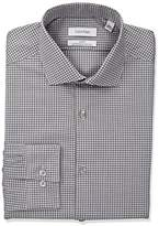 Calvin Klein Men's Non Iron Slim Fit Stretch Check Spread Collar Dress Shirt