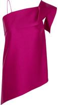 Roland Mouret Iver One-shoulder Asymmetric Satin Top - Pink