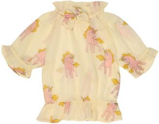 Mini Rodini Unicorns printed cotton blouse
