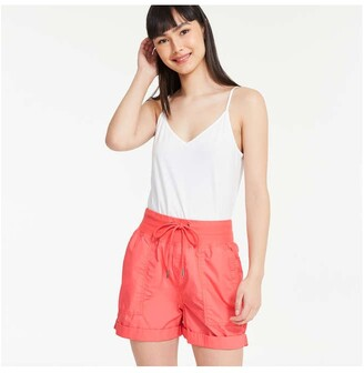 Joe Fresh Women's Poplin Shorts, Coral (Size XL)