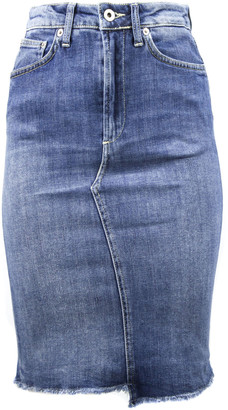 Dondup Long Skirt In Blue Denim