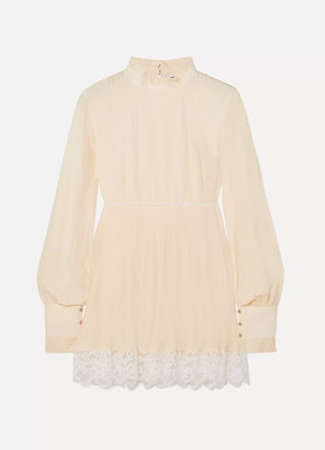Paco Rabanne Lace-trimmed Crepe Tunic - Ivory