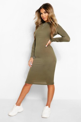 boohoo Petite Roll Neck Long Sleeve Midi Dress
